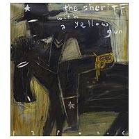 'The Sheriff With a Yellow Gun' - Signed Modern Painting of a Sheriff from Bali