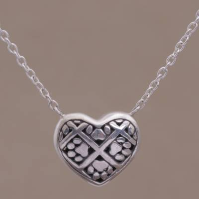 Sterling silver pendant necklace, Puppy Heart