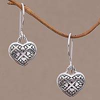 Sterling silver dangle earrings, 'Puppy Hearts' - Sterling Silver Paw Print Dangle Earrings from Bali