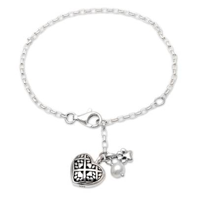 Cultured Pearl Paw Print Charm Bracelet from Bali