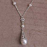 Cultured pearl pendant necklace, 'Paw Cone' - Cultured Pearl Paw Print Pendant Necklace from Bali