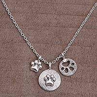 Sterling silver pendant necklace- 'Paw Trio' (Indonesia)