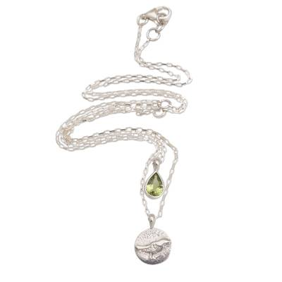Peridot and Sterling Silver Bird Necklace from Bali