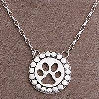 Sterling silver pendant necklace, 'Dog Paw' - Sterling Silver Paw Print Pendant Necklace from Bali