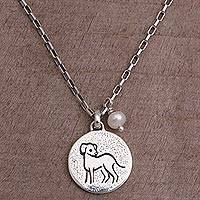 Cultured pearl pendant necklace, 'Happy Dog' - Cultured Pearl and Sterling Silver Dog Necklace from Bali