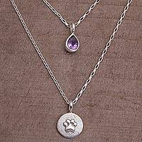 Amethyst pendant necklace, 'Purple Paw' - Amethyst and Sterling Silver Paw Print Necklace from Bali