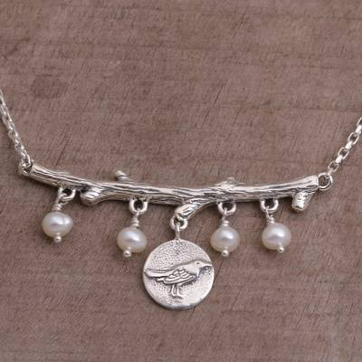 Cultured pearl pendant necklace, 'Morning Chirp' - Cultured Pearl and Sterling Silver Bird Necklace from Bali