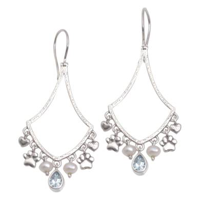 Blue Topaz and Cultured Pearl Paw Print Earrings from Bali