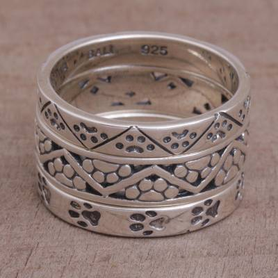 Set of Three 925 Sterling Silver Paw Print Rings from Bali