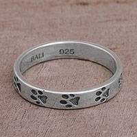 Sterling silver band ring, 'Paw Prints' - Sterling Silver Paw Print Motif Band Ring from Bali