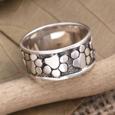 silver ball bracelet with heart - Sterling Silver Paw Print Motif Band Ring from Bali