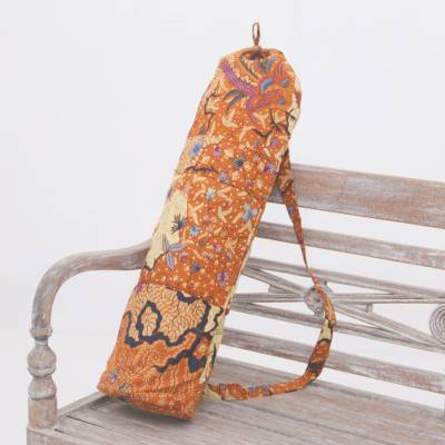 Cotton batik yoga mat bag, 'Madura Flowers' - Cotton Batik Yoga Mat Bag with Floral Motifs from Bali