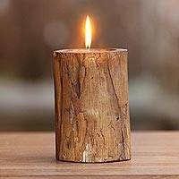 Teakwood candle and holder, 'Natural Flame' - Handcrafted Teakwood Holder with  Beeswax Candle from Bali