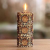 Pillar candle,'Floral Pillar' (8 inch) - 8 Inch Floral Pillar Candle Handmade in Bali