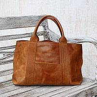 Leather handbag, 'Divine Lady' - Ginger Colored Structured Leather Handbag from Bali