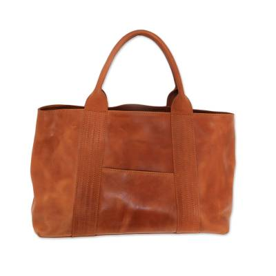 Ginger Colored Structured Leather Handbag from Bali