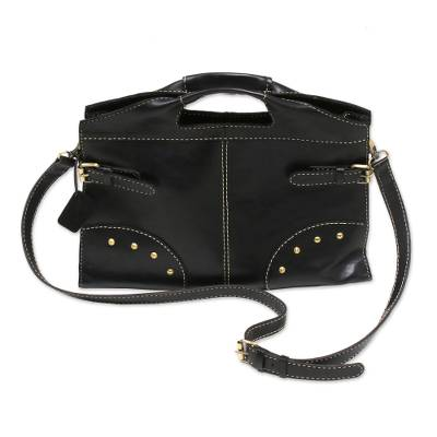 Black Leather Handbag with Strap and Brass Accents rom Bali