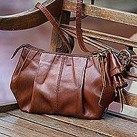 Leather shoulder bag, 'Coconut Dance' - Chestnut Brown Leather Handbag with Long Strap from Bali