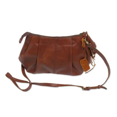 Chestnut Brown Leather Handbag with Long Strap from Bali