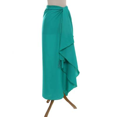Handmade Turquoise 100% Rayon Sarong from Indonesia