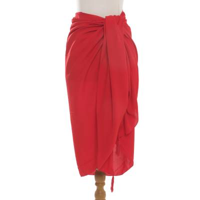 Handmade Red 100% Rayon Sarong from Indonesia