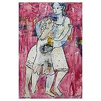 'Mother's Love' - Modern Balinese Original Painting of Mother and Son