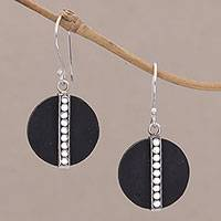 Lava stone dangle earrings, 'Dotted Discs' - Dot Motif Lava Stone and Sterling Silver Earrings from Bali