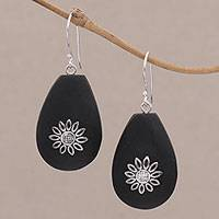 Lava stone dangle earrings, 'Pura Petals' - Lava Stone and Sterling Silver Floral Earrings from Bali