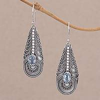 Blue topaz dangle earrings, 'Temple Art' - Topaz on Balinese Sterling Silver Earrings Crafted by Hand