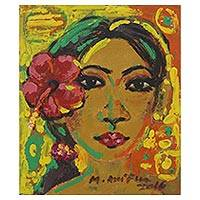 'Balinese Young Woman' - Signed Expressionist Painting of a Floral Woman from Bali