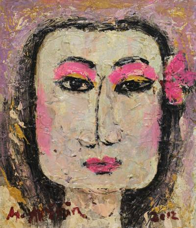 'Fierce Woman' - Signed Expressionist Painting of a Strong Woman from Bali