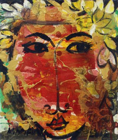 'Fairy' - Signed Expressionist Painting of a Fairy Woman from Bali