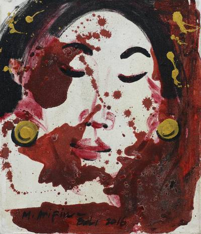 'View of A Woman's Face' - Signed Expressionist Painting of a Woman from Bali