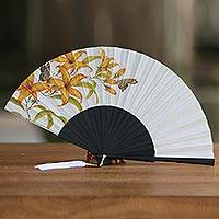 Silk and mahogany wood fan, 'Moonlight Lily' - Handmade Silk and Mahogany Fan with Lilies and Butterflies