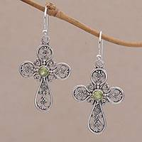 Peridot dangle earrings, 'Indonesian Cross' - Sterling Silver Peridot Openwork Cross Earrings from Bali