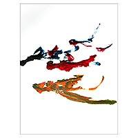 Elephant painting, 'Falcon Soaring' - Original Abstract Painting by a Balinese Elephant Artist