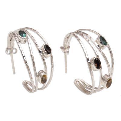 Multi-Gemstone and Sterling Silver Half-Hoop Earrings