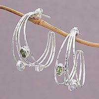 Multi-gemstone half-hoop earrings,