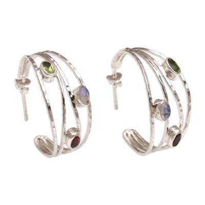 Multigemstone and Sterling Silver Half-Hoop Earrings