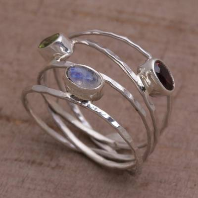 Multi-gemstone ring, 'Brilliant Majesty' - Unique Multigemstone Sterling Silver Ring from Bali