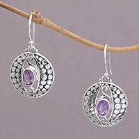 Amethyst dangle earrings, 'Temple Watchers' - Amethyst and Sterling Silver Dot Motif Earrings from Bali