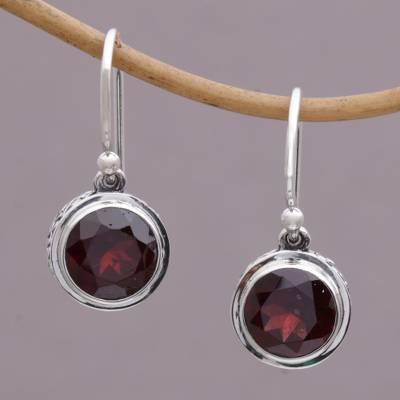 Garnet dangle earrings, 'Glittering Glance' - Circular Garnet and Sterling Silver Earrings from Bali