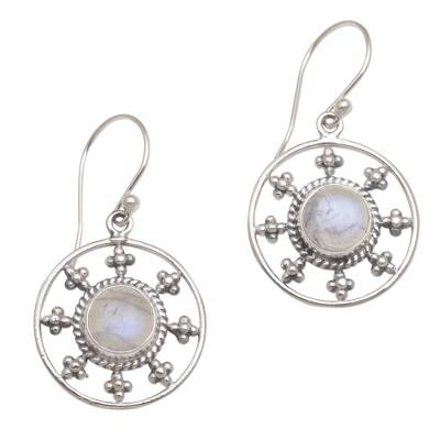 Rainbow Moonstone and 925 Silver Circular Earrings from Bali