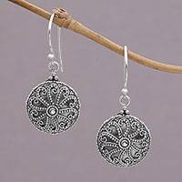 Sterling silver dangle earrings, 'Temple Swirl' - Sterling Silver Spiral Motif Dangle Earrings from Bali
