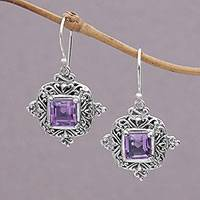 Amethyst dangle earrings, 'Sacred Altar' - Square Amethyst and Sterling Silver Earrings from Bali