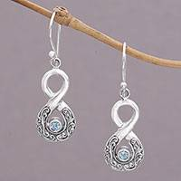 Blue topaz dangle earrings, 'Blue Tangle' - Blue Topaz and Sterling Silver Looping Earrings from Bali