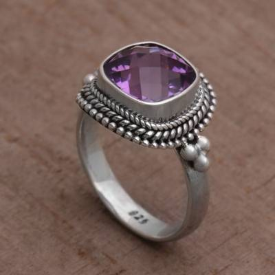 Amethyst and Sterling Silver Ring Cocktail Ring from Bali