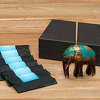 Brass incense holder set, 'Jasmine Elephant' - Antiqued Brass Elephant Incense Holder and Sticks Set