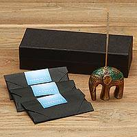 Brass incense set, 'Baby Jasmine Elephant' - Antiqued Brass Elephant Incense Holder and Sticks Set