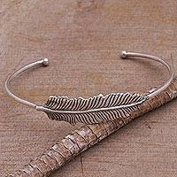 Sterling silver cuff bracelet, 'Alluring Feather' - 925 Sterling Silver Feather Cuff Bracelet from Bali